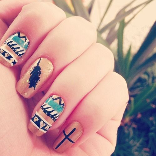 45 Tribal Aztec Nail Designs - 45 Tribal Aztec Nail Designs Beauty :) Pinterest Aztec Nail