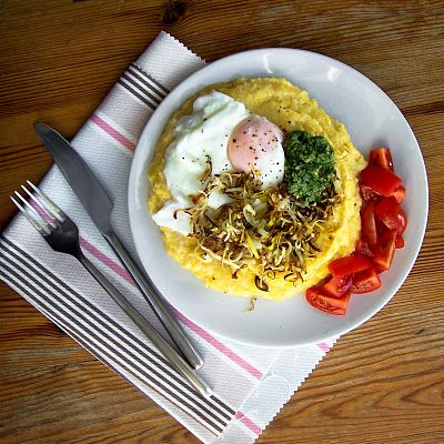 Poached Eggs, Grits, Pesto