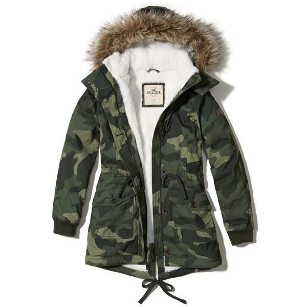 Hollister Stretch Cozy-Lined Parka ( 70) ❤ liked on Polyvore featuring  outerwear 24d6bbc0719e