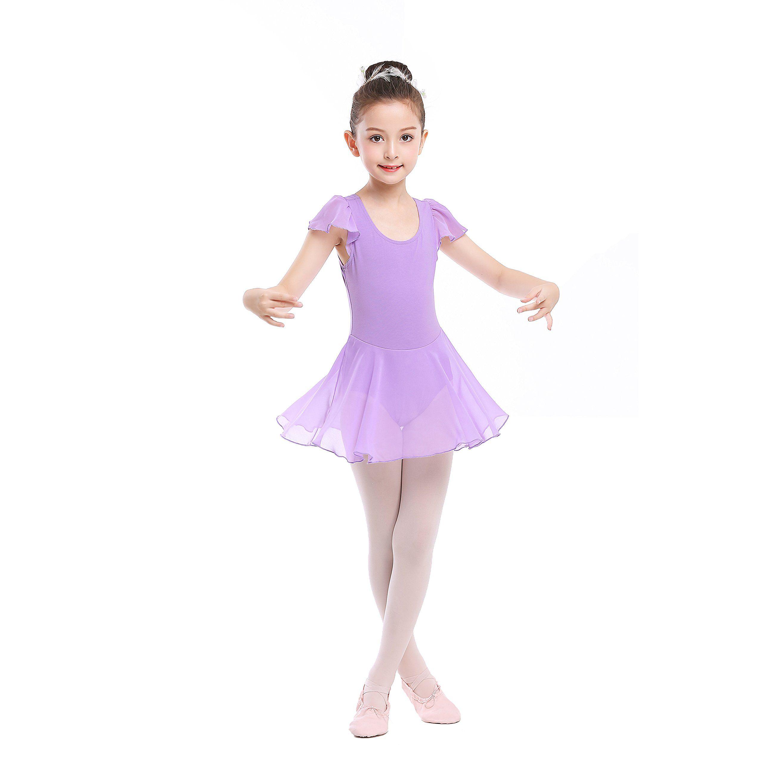 3fbaf7b8d Stelle Girls  Cotton Ruffle Short Sleeve Dress Leotard for Dance ...