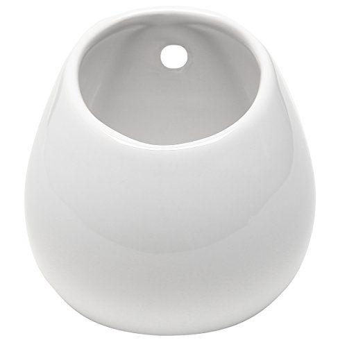 White Petite Wall Mounted, Hanging or Freestanding Decorative Ceramic Flower Planter Vase Holder Display