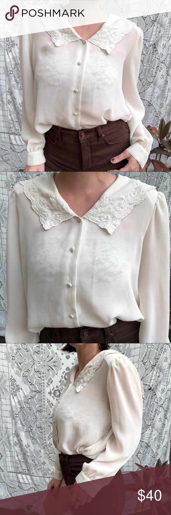 c71fc5eb Vintage | 80's cream lace collar blouse This vintage 80's lace collar blouse  has me swooning