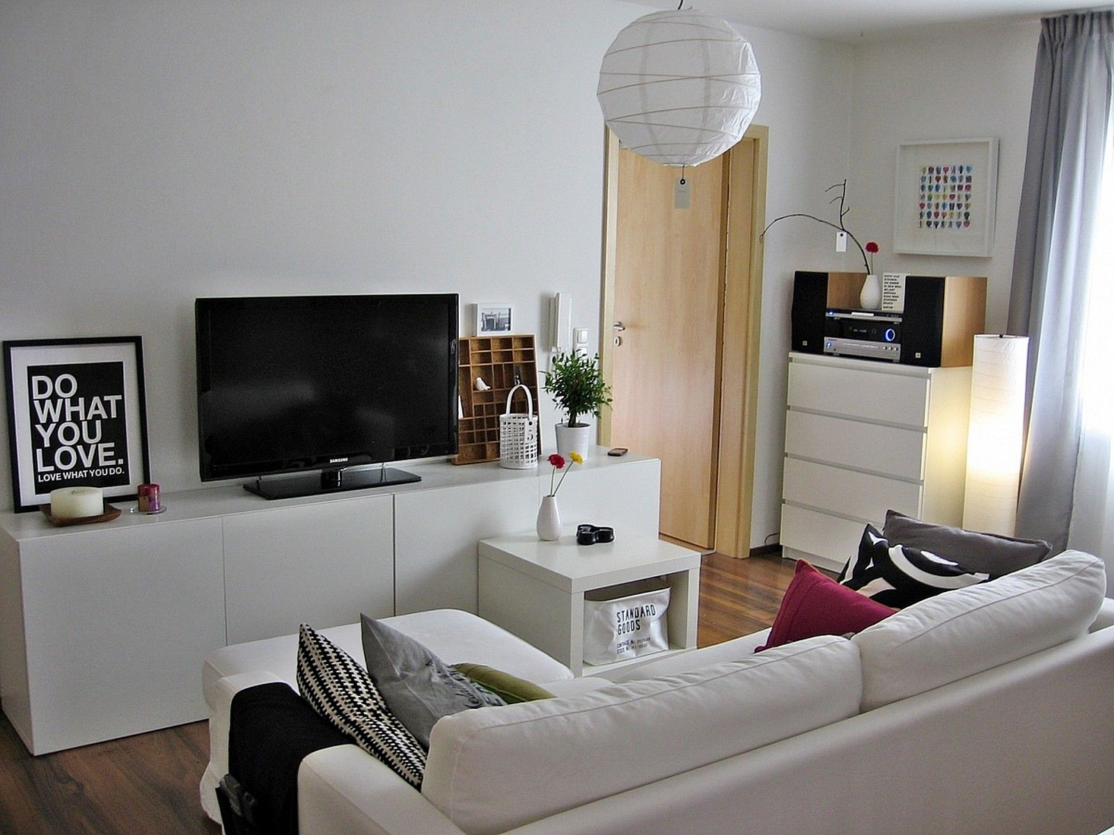 White Modern Living Room with IKEA Besta Media storage System. White Modern Living Room with IKEA Besta Media storage System