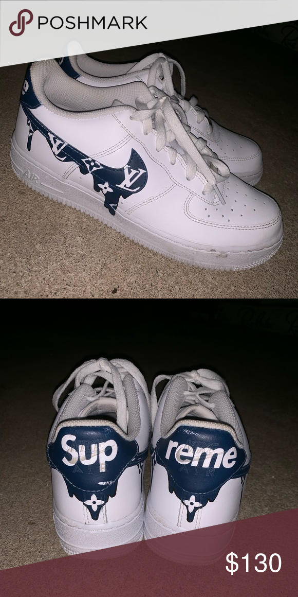 CUSTOM SUPREME LV AIR FORCE 1s Womens shoes sneakers