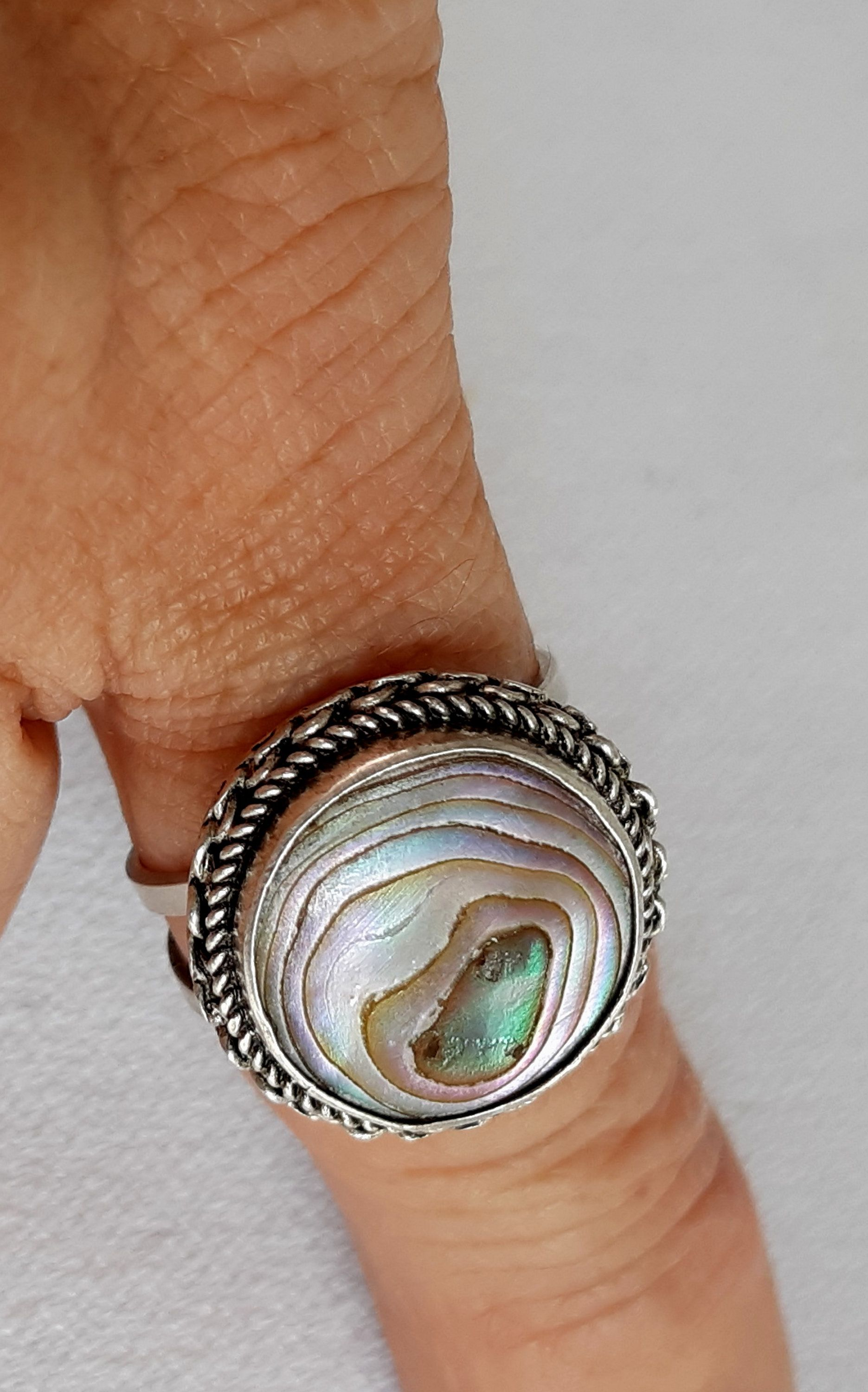 silver statement jewelry VINTAGE abalone mother of pearl ring seashell silver ring mermaid ring mother of pearl vintage jewelry 1980s