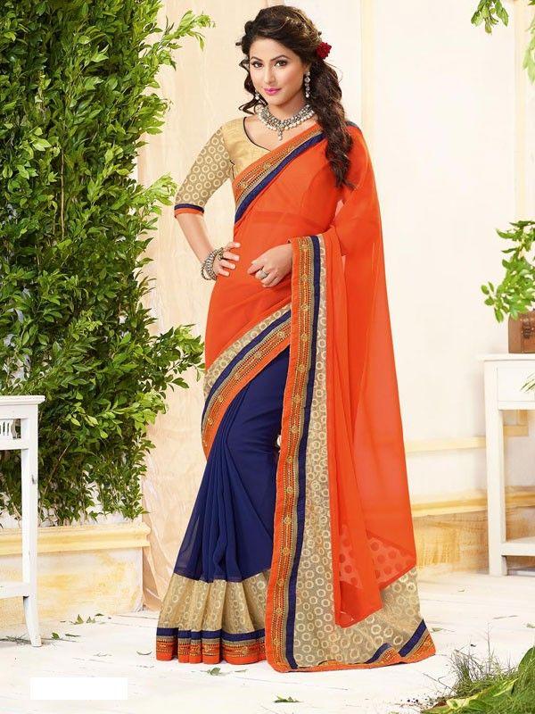 Akshra Tantalizing Orange Colored Jacquard Saree