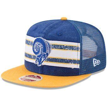 80355098d37 Los Angeles Rams New Era Vintage Throwback Stripe 9FIFTY Adjustable Snapback  Hat - Royal Gold