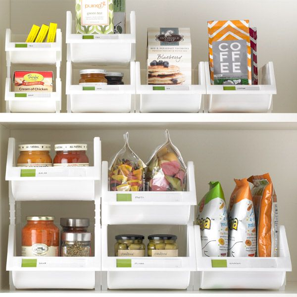 White Stackable Bins with Label Holder | Container store ...