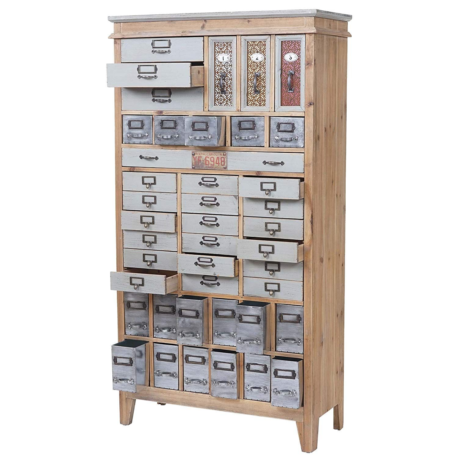Apothecary Cabinet Hwc A43 Chest Of Drawers Solid Fir Wood Vintage Shabby Look 152x81x34 Cm - Kleinmöbel Flur