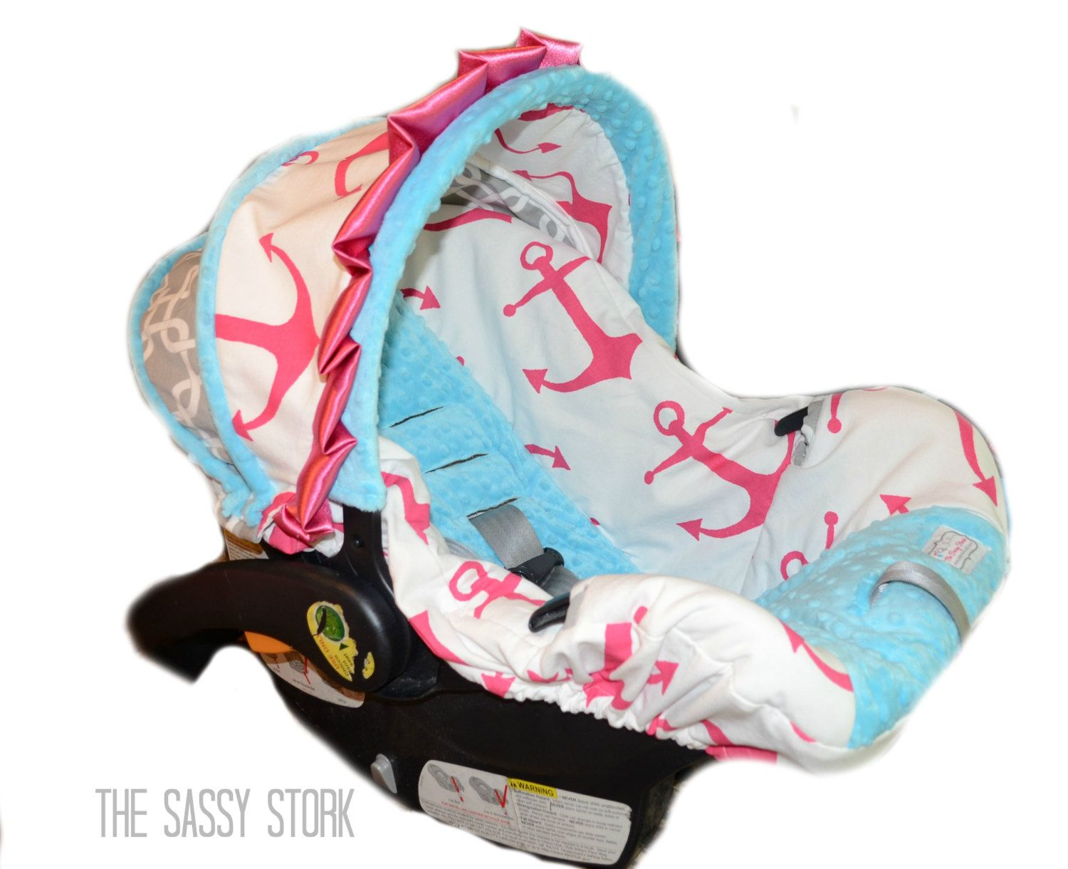 Pink Aqua Anchor And Grey Infant Car Seat Cover By SassyStork 8999