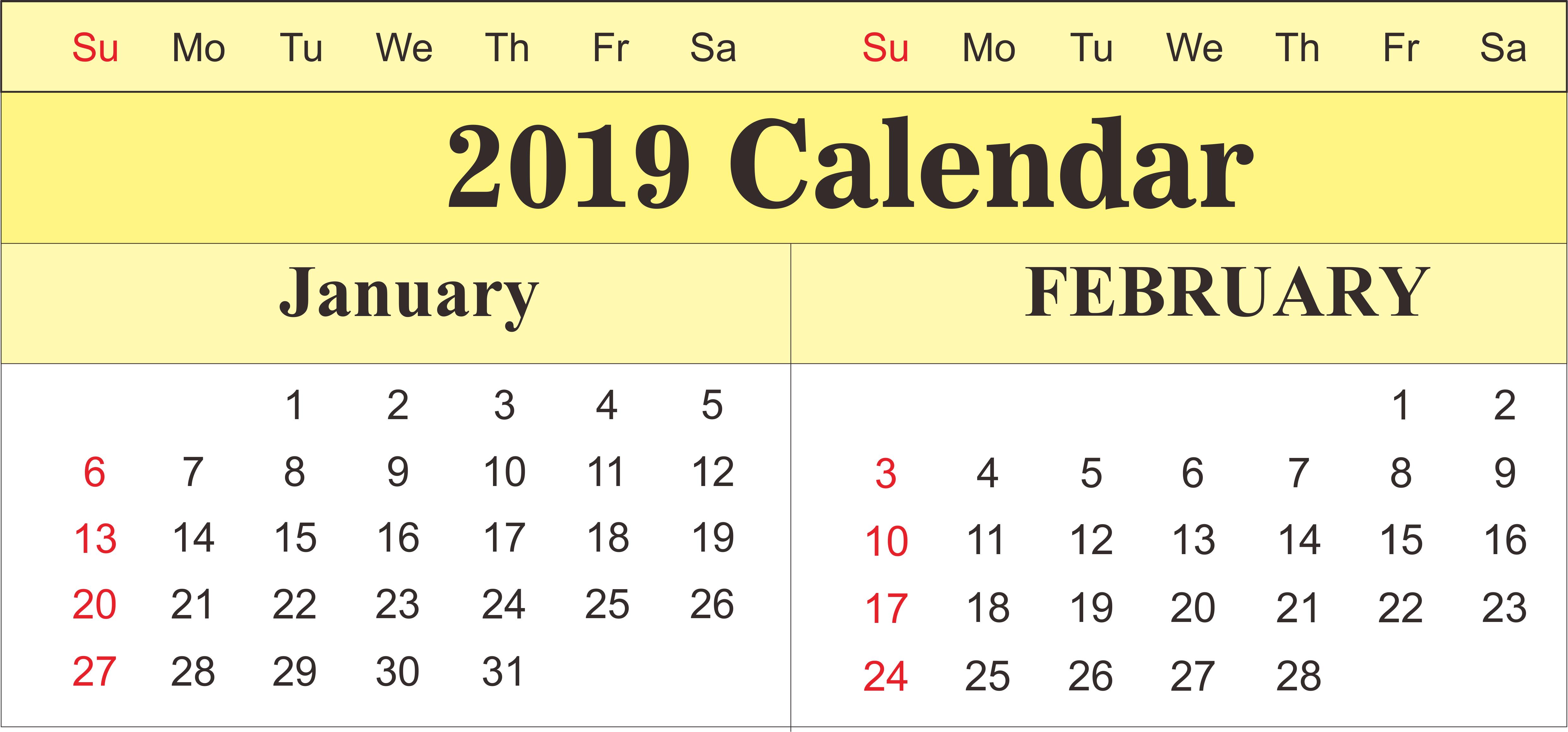 February 7 2019 Calendar Printable January and February 2019 Calendar   250+ February 2019