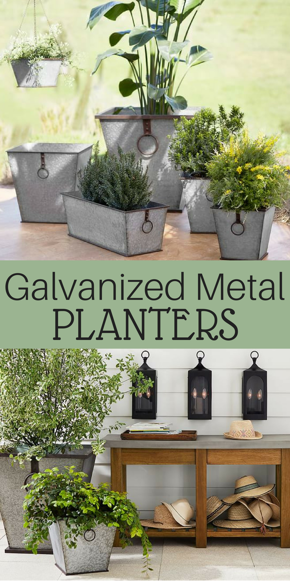 Galvanized Metal Planters Rustic Meets Contemporary In These Chic Planters They Feature Contrasting Trim D Rustic Planters Rustic Patio Garden Lighting Diy
