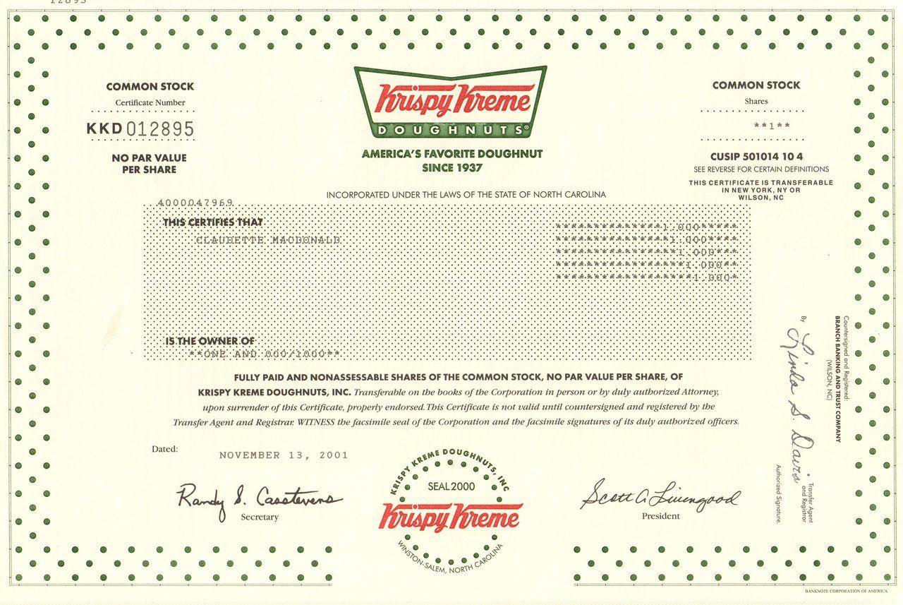 Krispy kreme doughnuts stock certificate 2001 north carolina krispy kreme doughnuts stock certificate 2001 north carolina 1betcityfo Choice Image
