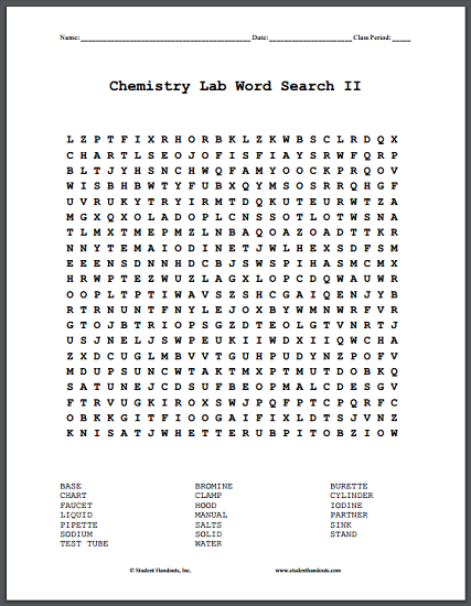 Chemistry Lab Word Search Puzzles Free To Print Pdf Files