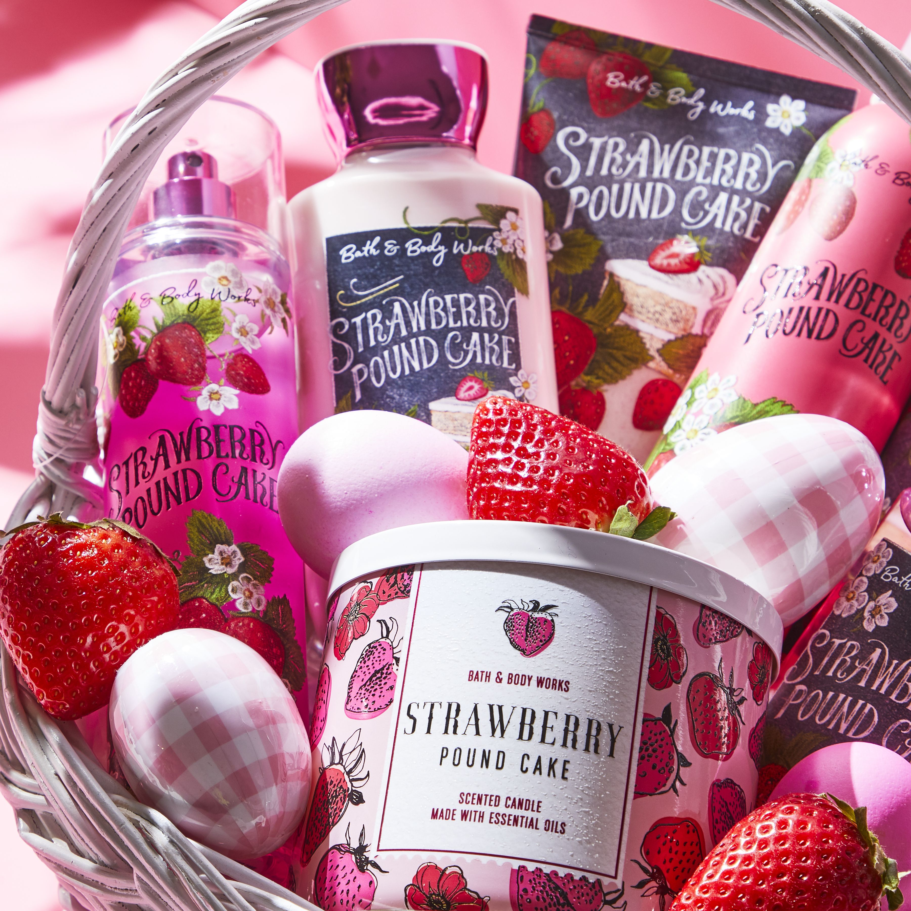 Create a cute pink easter basket with all the strawberry