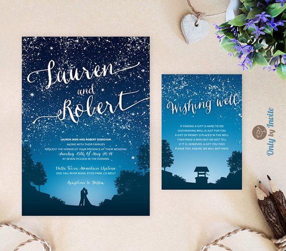 Marriage under the Stars. Beautiful Wedding Invitation for Galaxy theme wedding Starry Rehearsal Dinner 5.5x5.5 Celestial Card