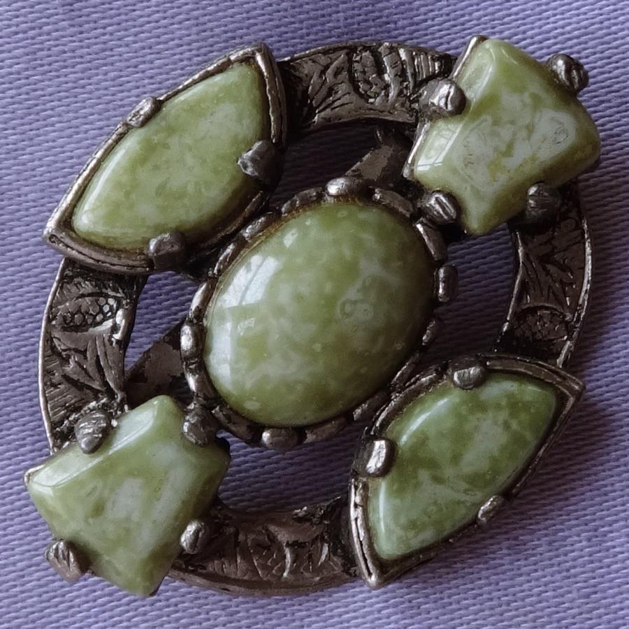 Vintage GREEN Marble Oval CELTIC Cross Brooch