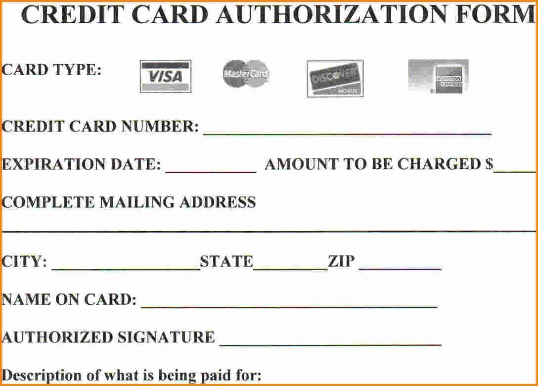 Authorization for credit card use free forms download