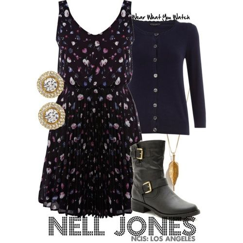 "Renee Felice Smith as Nell Jones on ""NCIS: Los Angeles"" - For information on purchasing items from the set above please visit my Polyvore account."