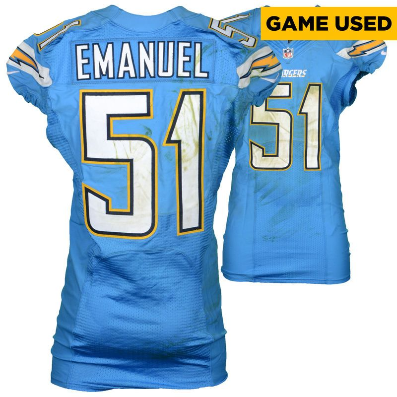 kyle emanuel san diego chargers fanatics authentic game used 51 baby blue jersey vs women