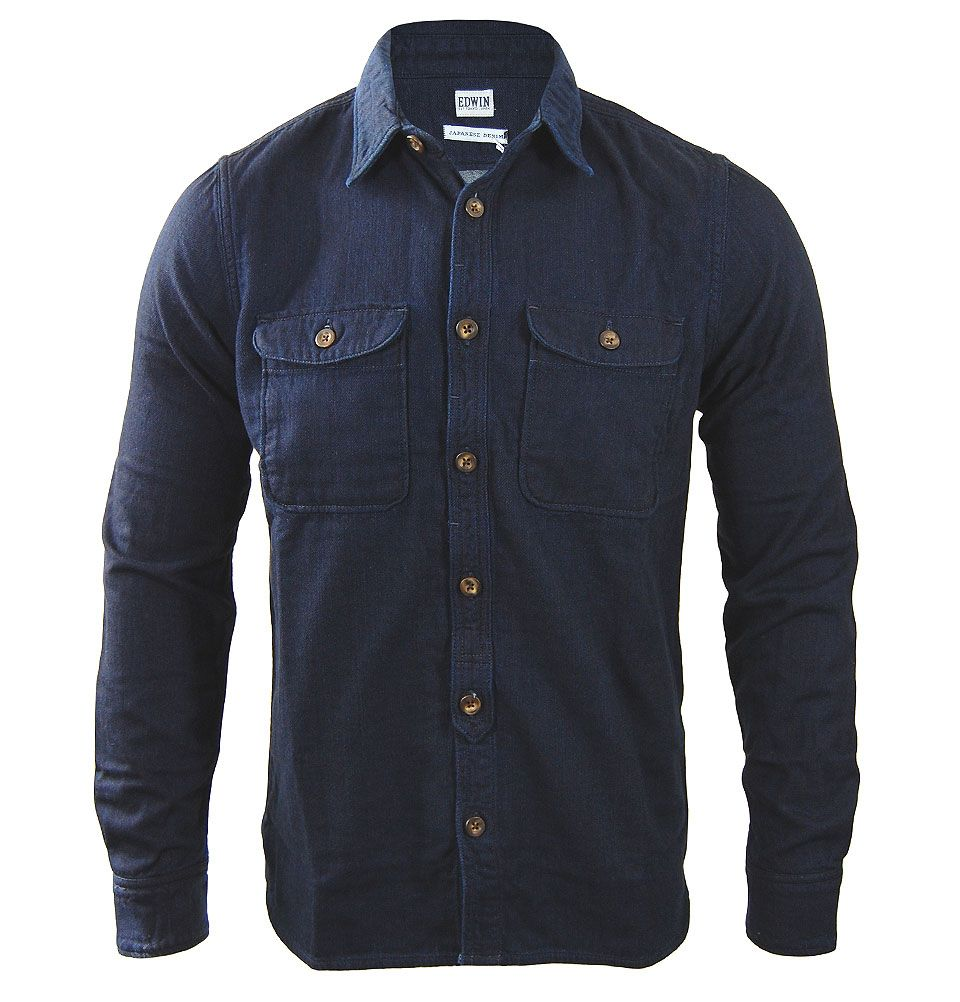 944d488ae0f Edwin introduces the Loggerhead shirt with a blue rinse finish. Crafted  from Japanese fabrics this