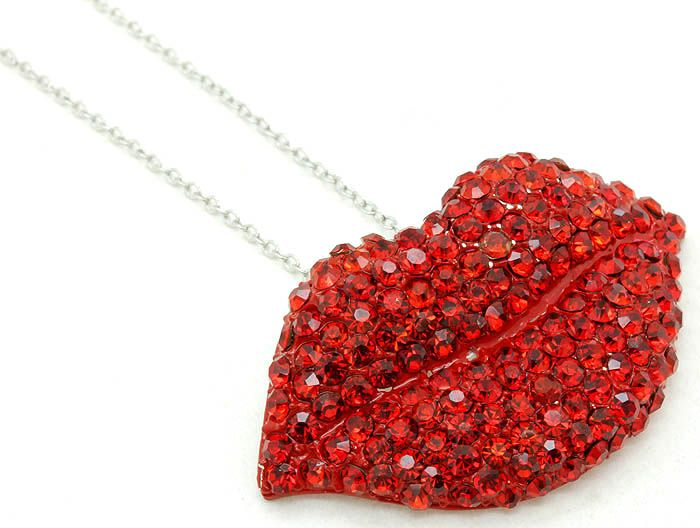 Red Crystal Lips Necklace Www Divacoutoure Com Rhinestone Lips