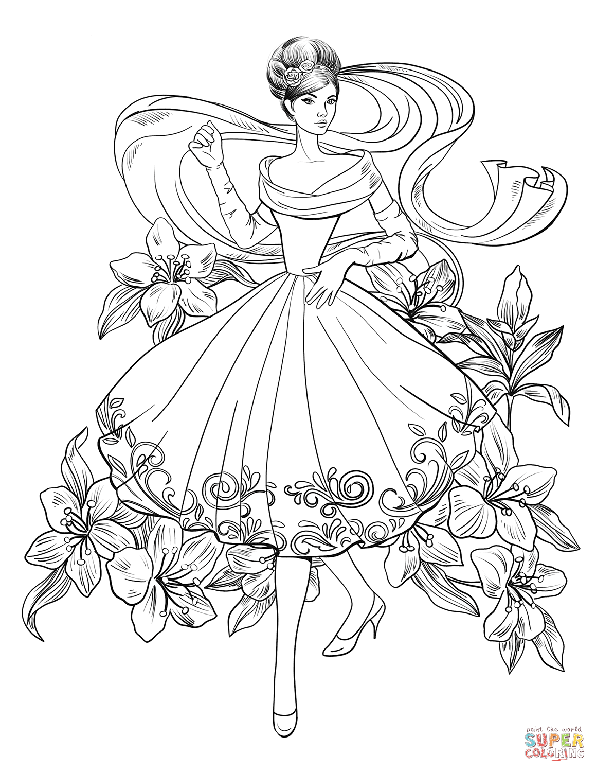 Lady From 60 S Super Coloring Fashion Coloring Book Detailed Coloring Pages Coloring Pages