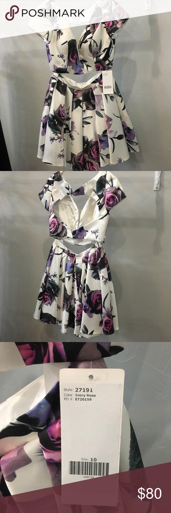Short piece floral prom formal dress designer boutique short