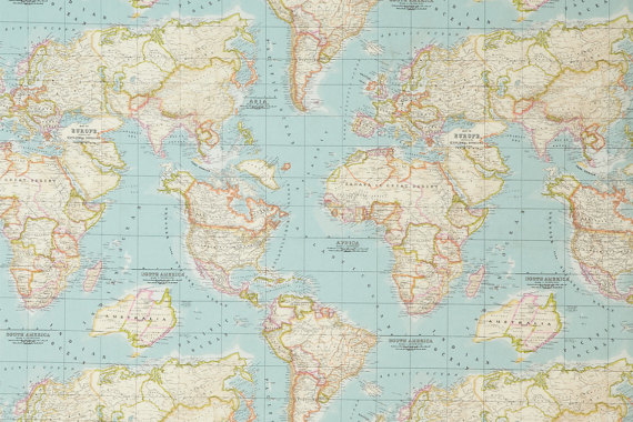 blue worldmap FABRIC, cotton & polyester, map pattern, world globe ...