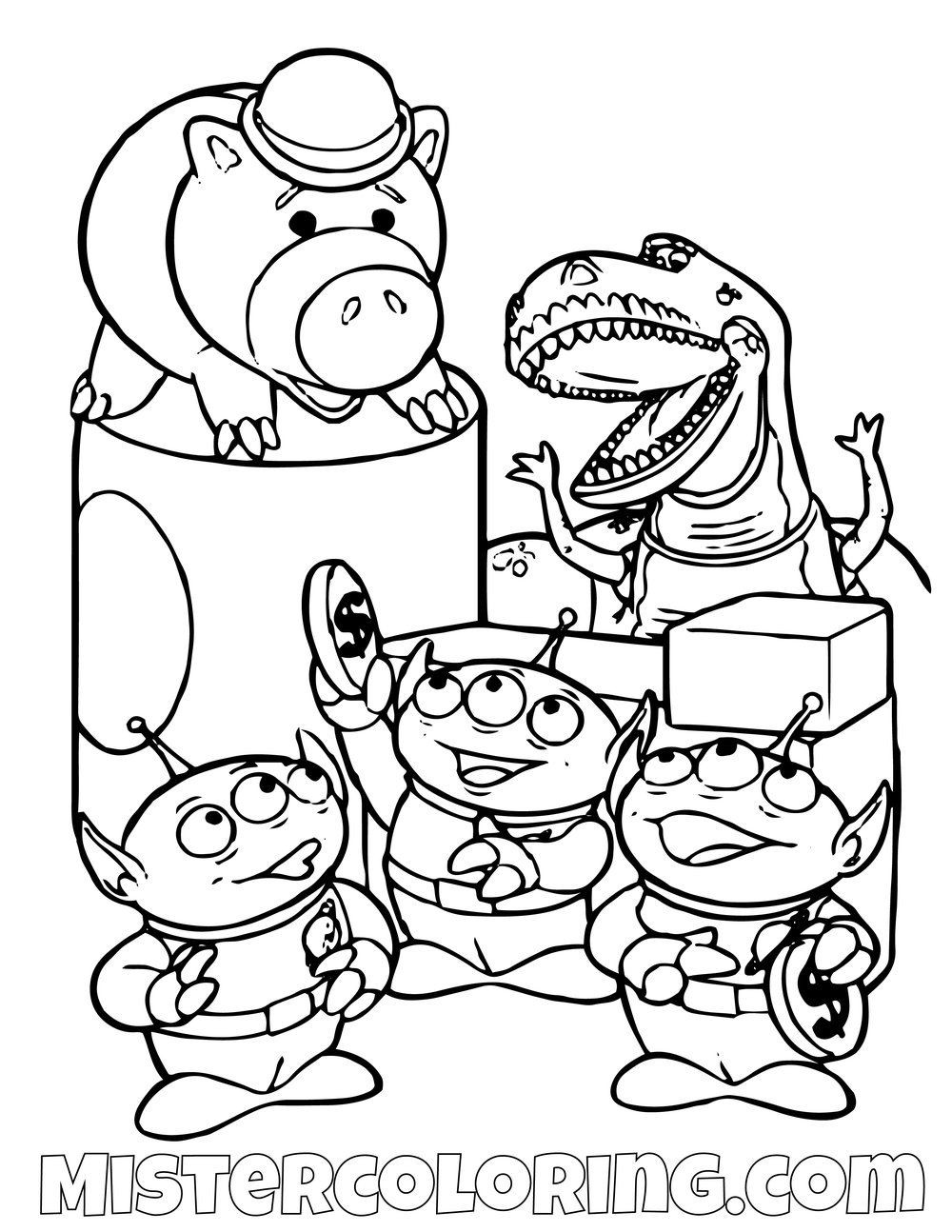 Aliens Rex And Ham Toy Story Coloring Page