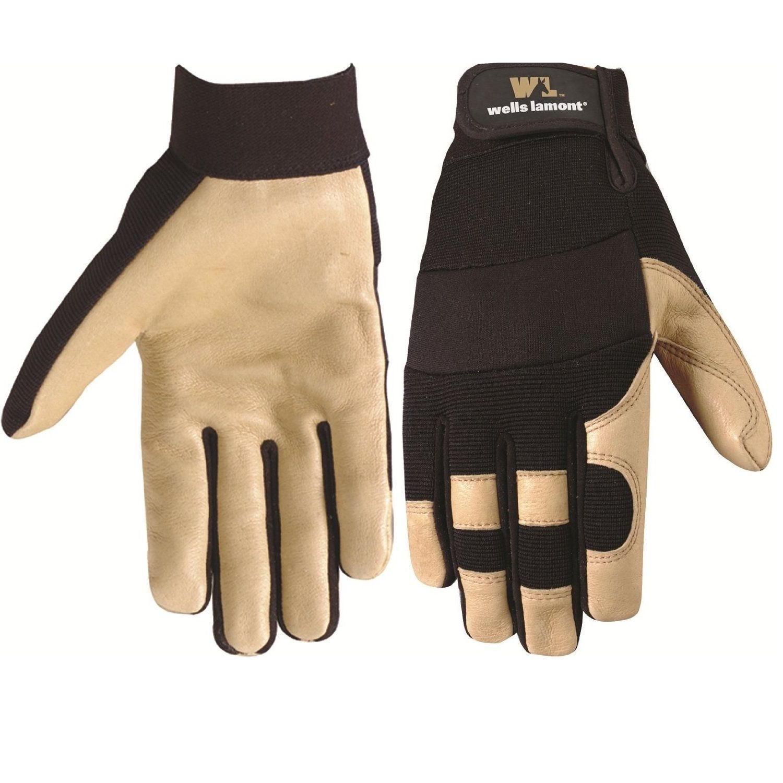 Leather palm work gloves wholesale - Wells Lamont Grain Pigskin Work Gloves For Men