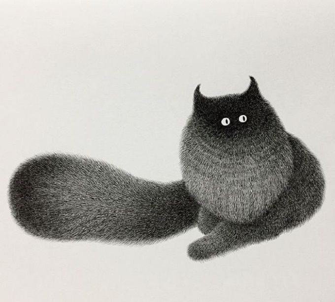 Cat Illustration By Kamwei Fong Catbookforkids Cat Art