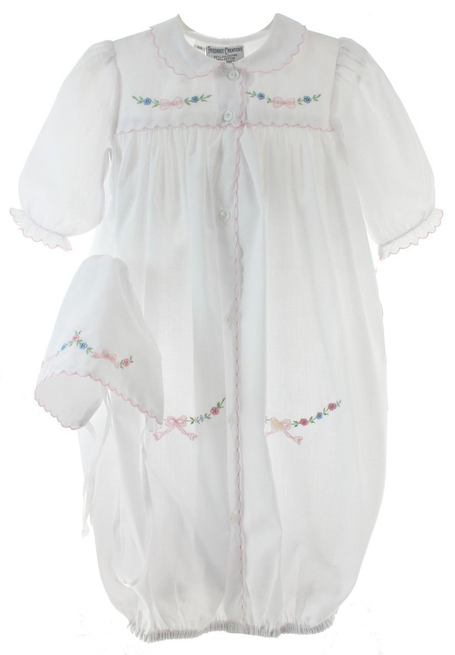 Newborn Girls White and Pink Take Home Gown Bonnet Set | Friedknit ...