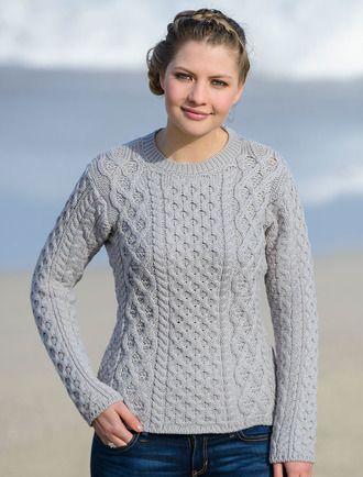 fda330a477fed Women s Fisherman Sweater - Aran Sweater - Silver