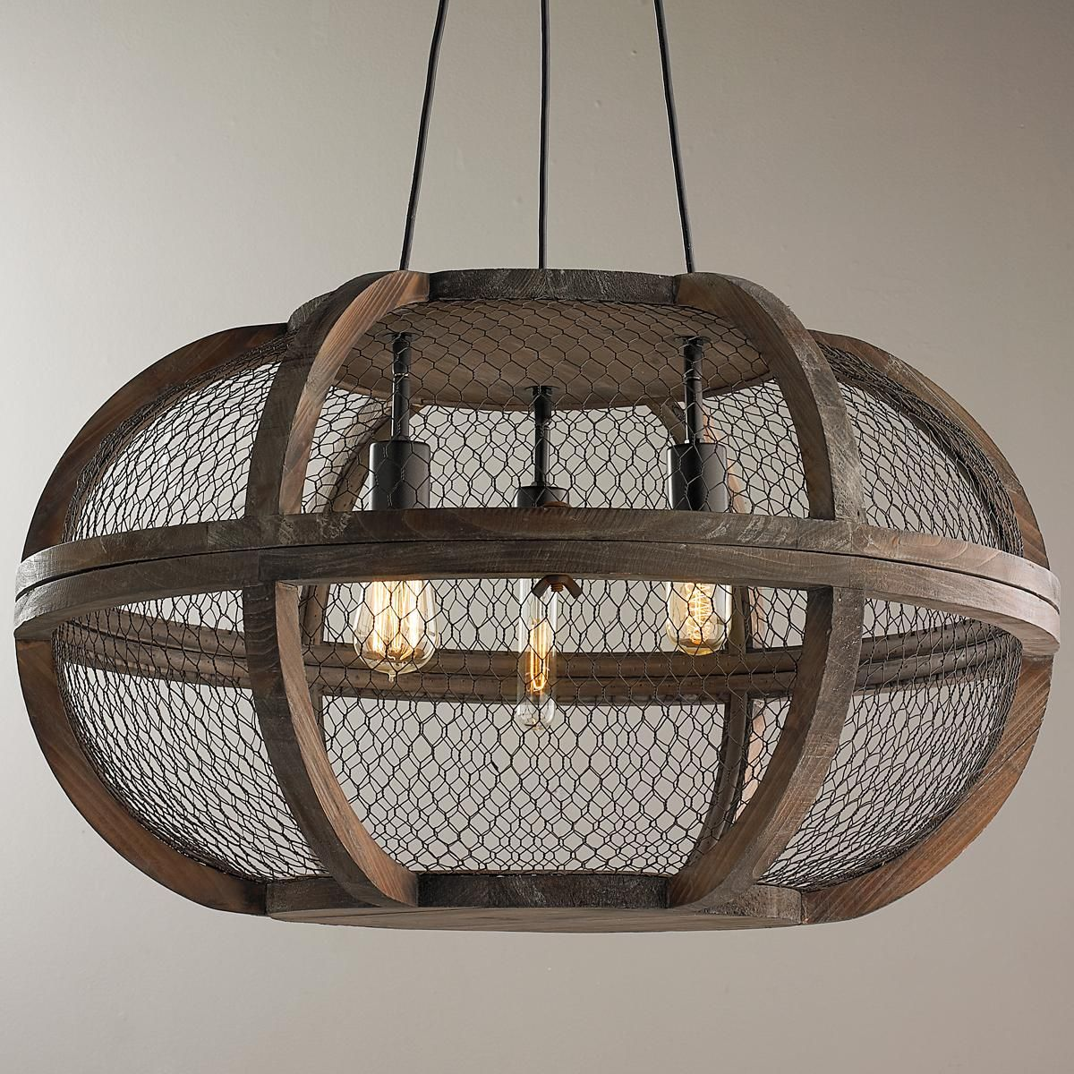 Rustic wooden cage chandelier antique farm table for Rustic wire chandelier