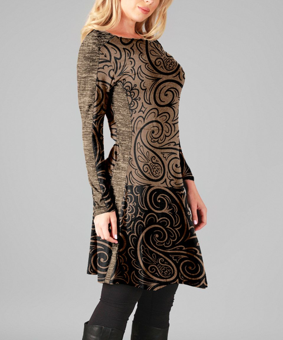 be25c251e9c Another great find on  zulily! Brown   Gray Filigree Long-Sleeve Tunic Dress