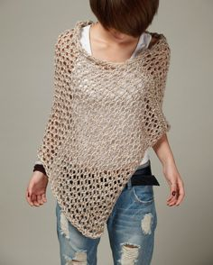 Hand knit Little cotton poncho in Wheat by MaxMelody on Etsy