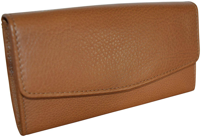99ffd41c75c8 Genuine Top Grain Leather Women's Flap Wallet - Credit Card Clutch ...