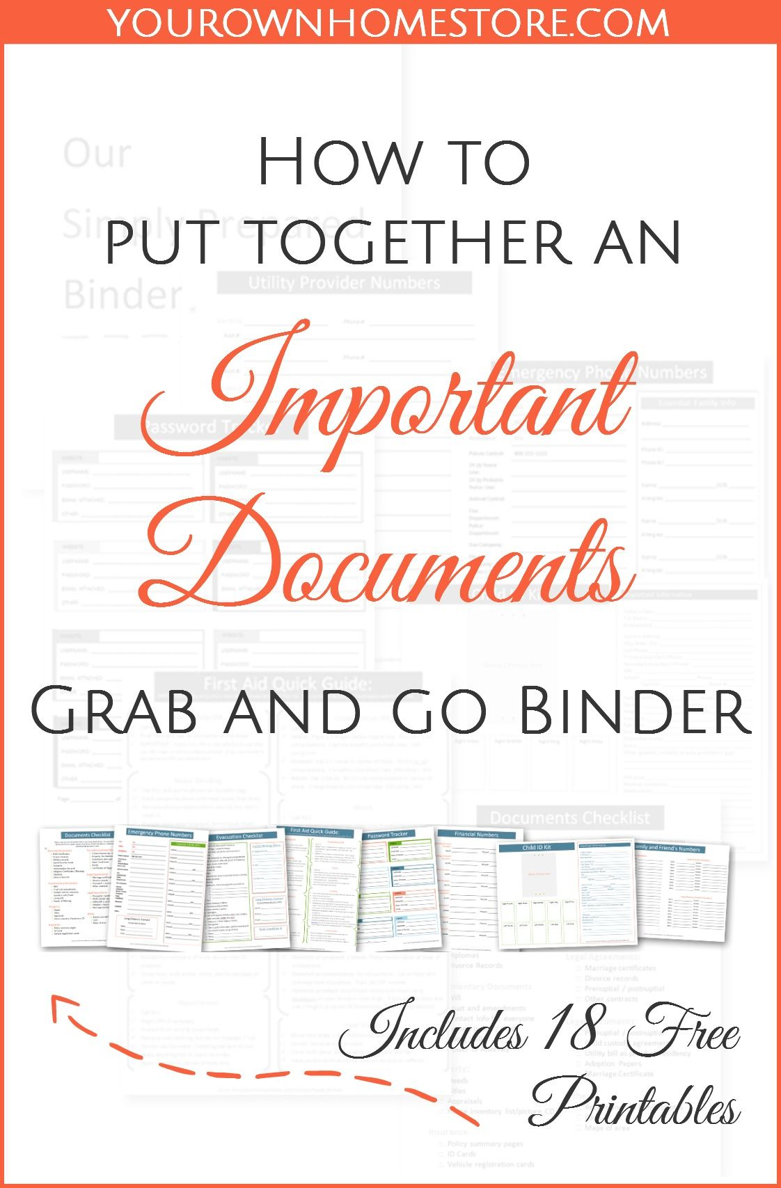 How to create a complete emergency important documents grab and go binder.