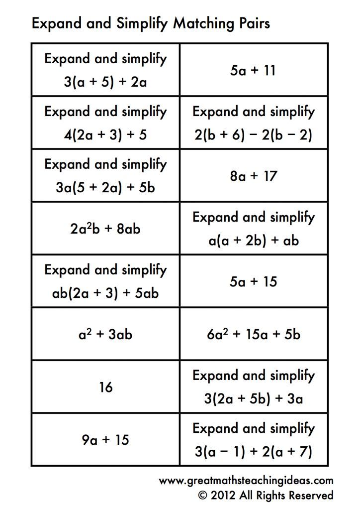 simplifying expressions matching algebra 1 teaching math math expressions math classroom. Black Bedroom Furniture Sets. Home Design Ideas