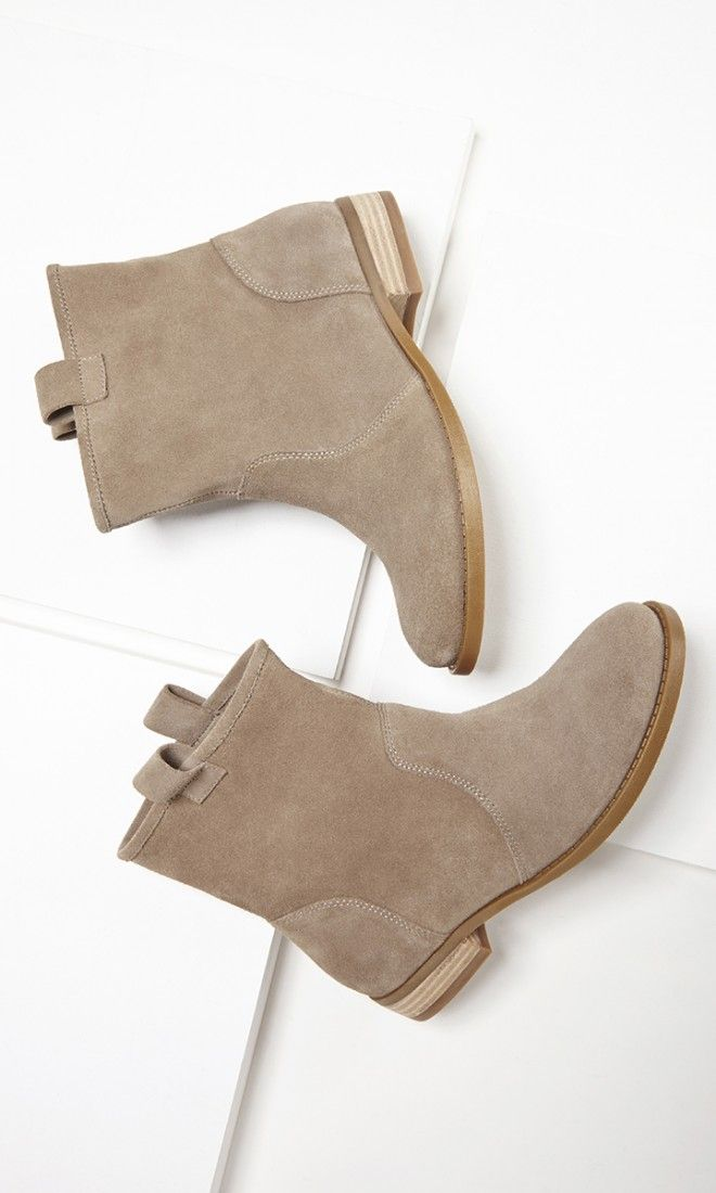 Soft suede taupe boots with a slouchy