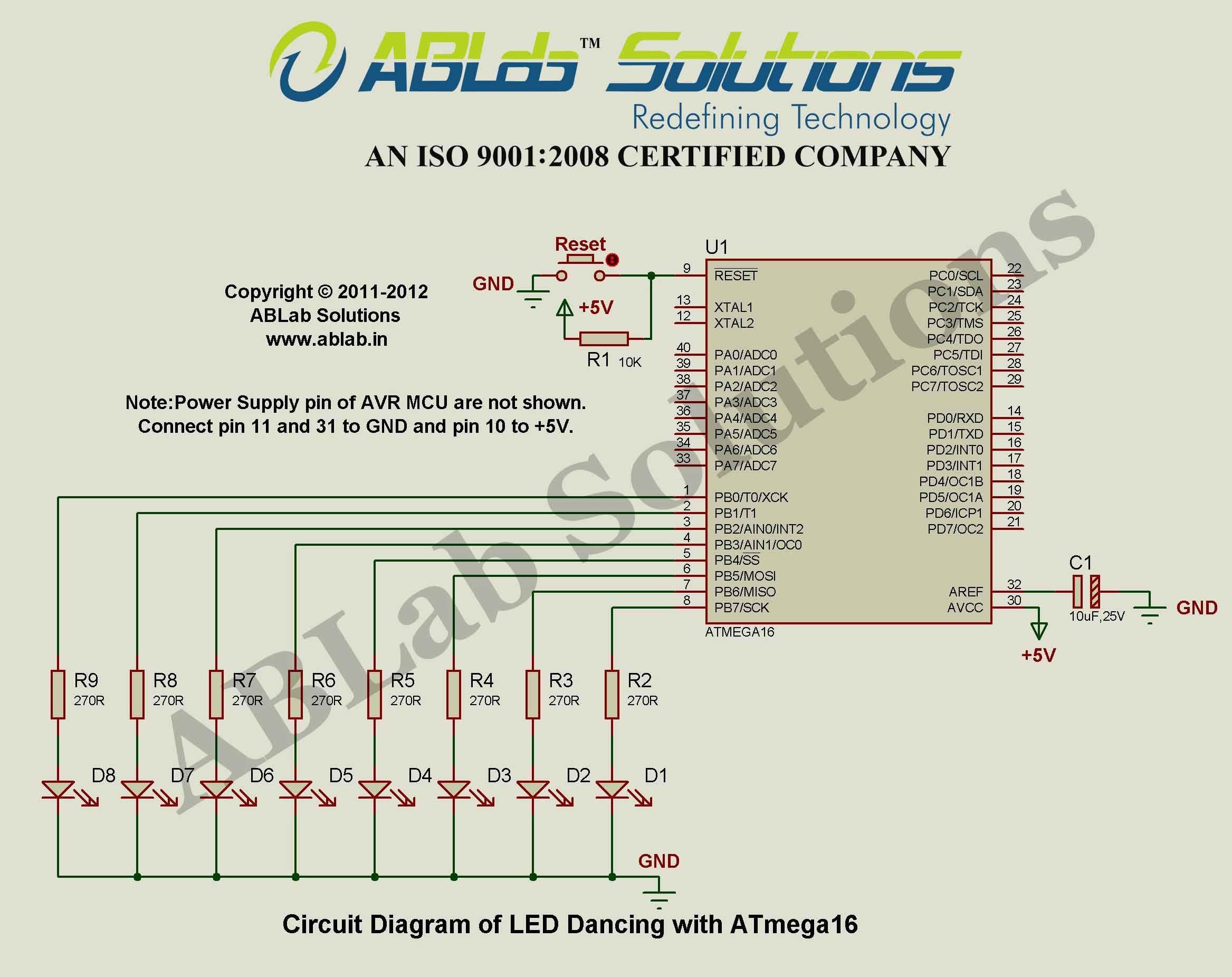 medium resolution of led dancing with avr atmega16 microcontroller circuit diagram ablab solutions