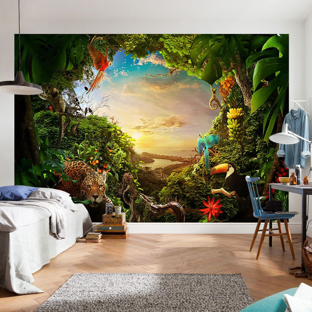 Tree Forest Jungle Animal Wallpaper photo wall mural