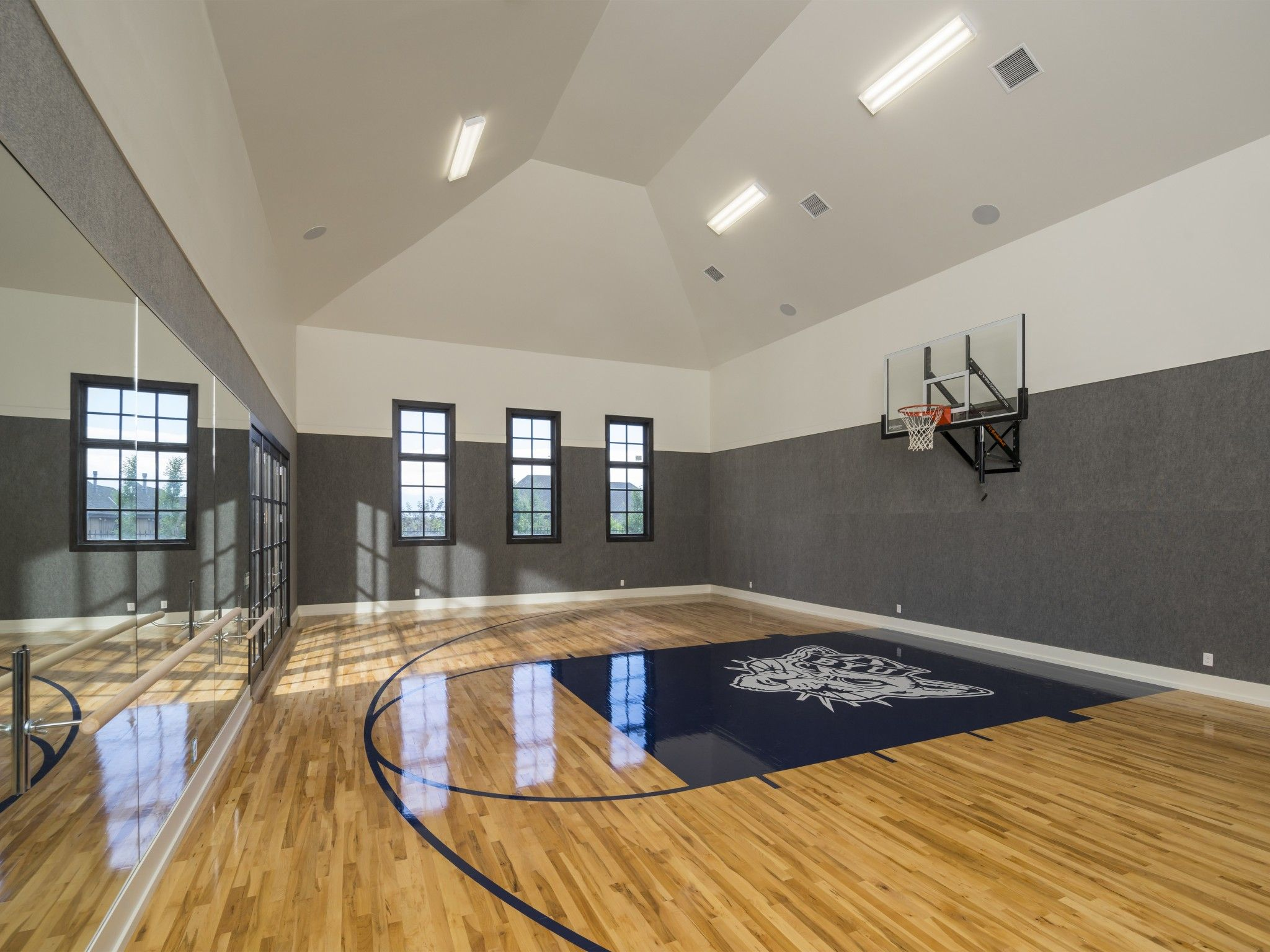 Sport Court Measuring 27' 44' In Lower Level Of
