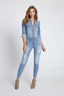 e46d1fc9015 Long-Sleeve Denim Jumpsuit in Canyon Indigo Wash