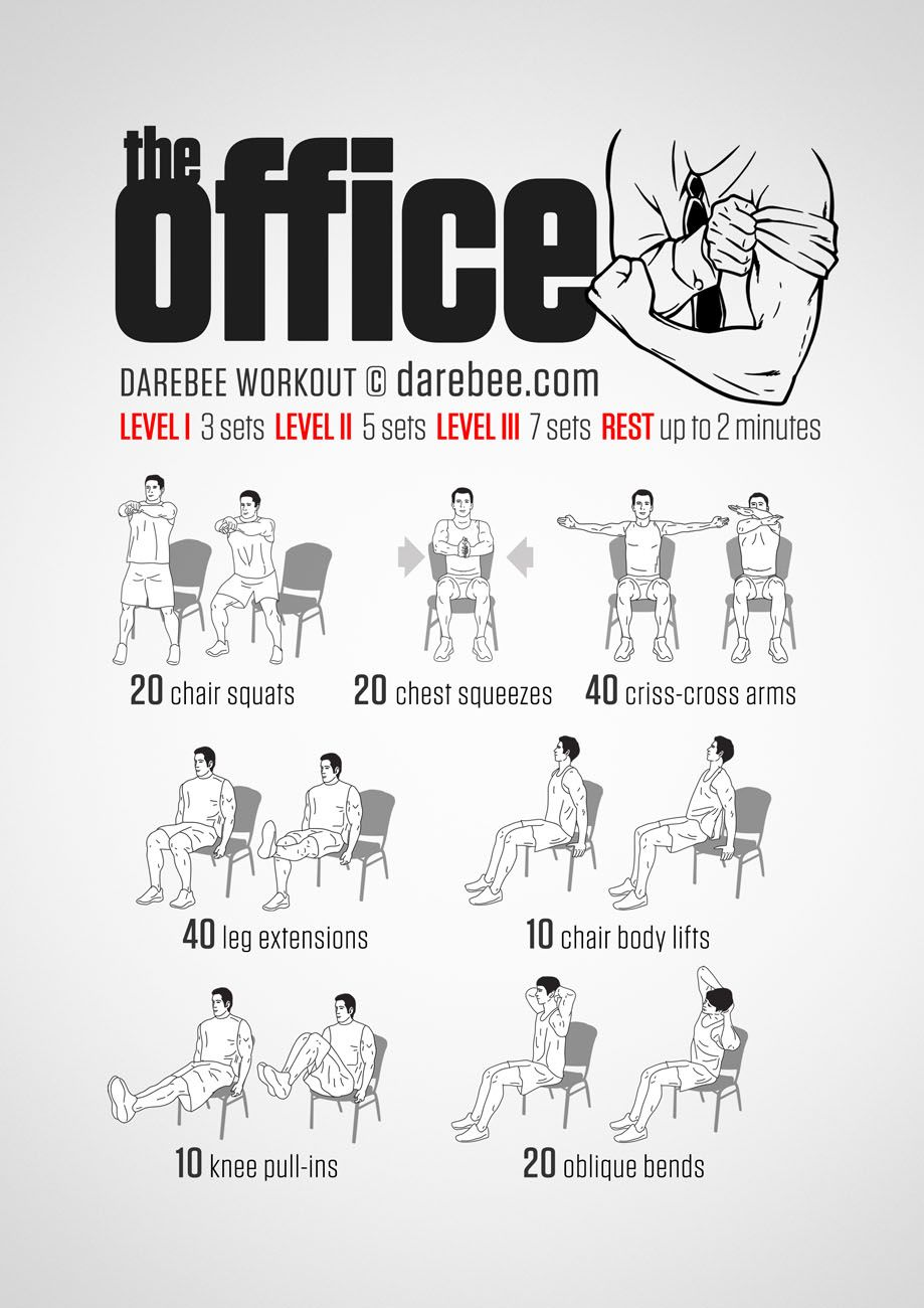 Noequipment office workout for all fitness levels. Visual