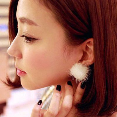 패션 귀걸이 금속 진짜 밍크 모피 볼 실버 귀걸이 모피 꽃 귀걸이 소녀 스터드 귀걸이