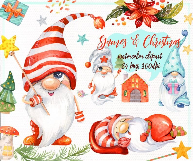 Christmas Gnomes Watercolor Clipart Nordic Scandinavian Etsy In 2020 Christmas Watercolor Holiday Clipart Christmas Gnome