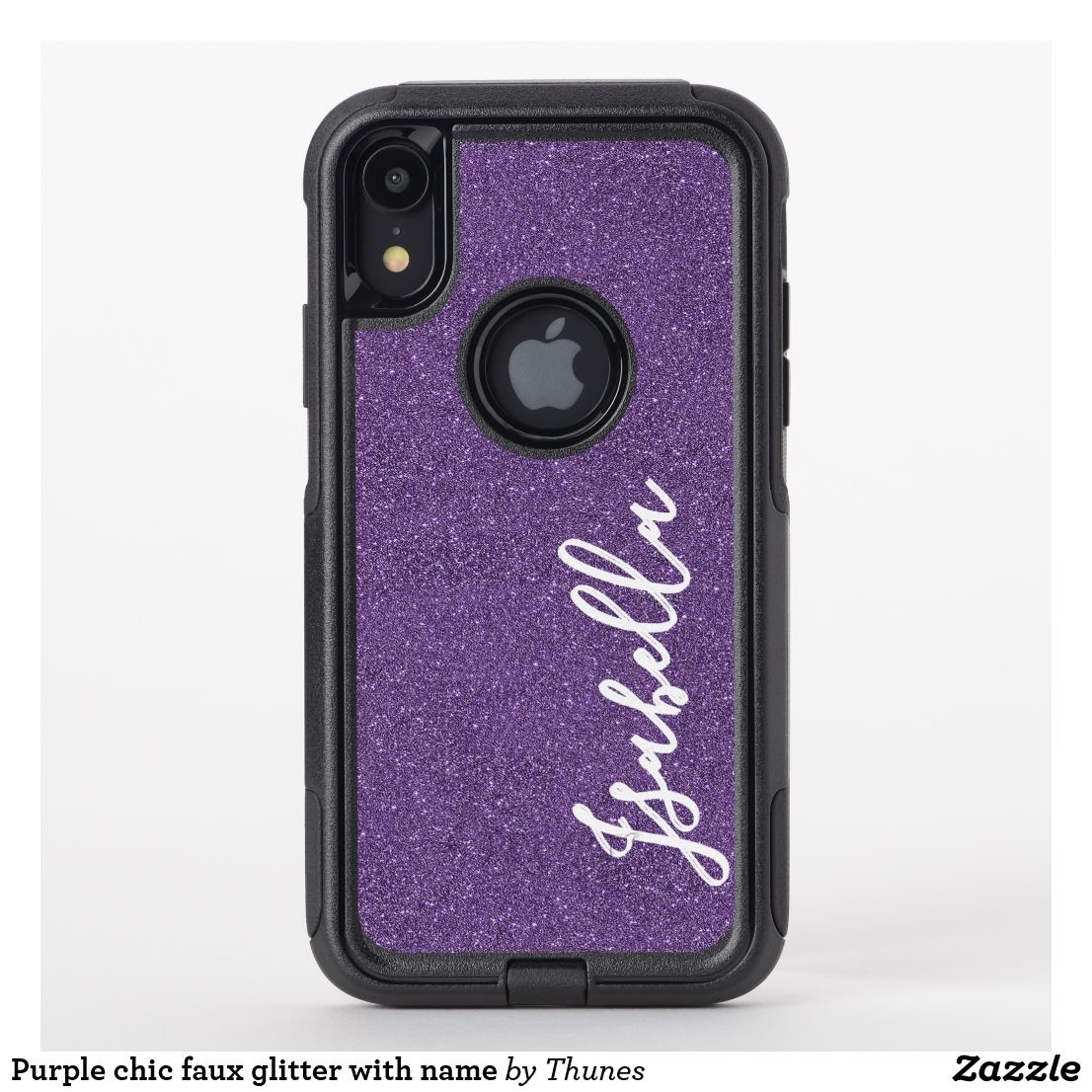Purple chic faux glitter with name OtterBox iPhone case