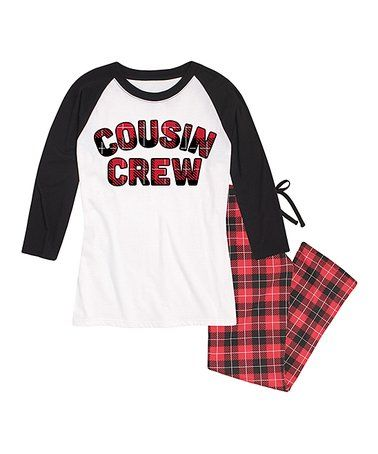 37806d6c5 Look what I found on  zulily! White   Black Plaid  Cousin Crew ...